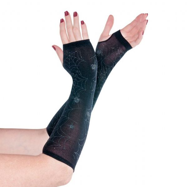 Adults Sheer Black Arm Warmers Halloween Fancy Dress Outfit Accessory